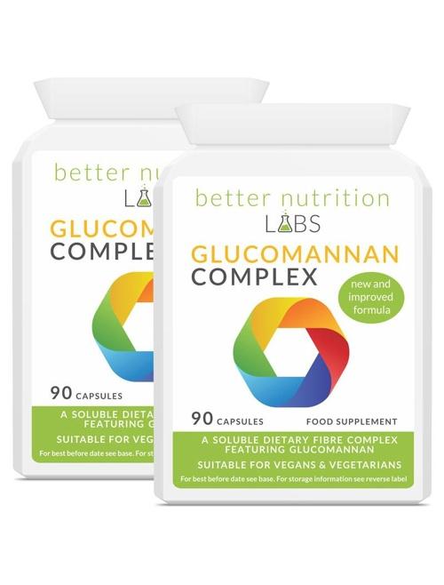 2X Glucomannan Complex - Glucomannan Fiber Complex (2 måneder forsyning, 180 Kapsler)